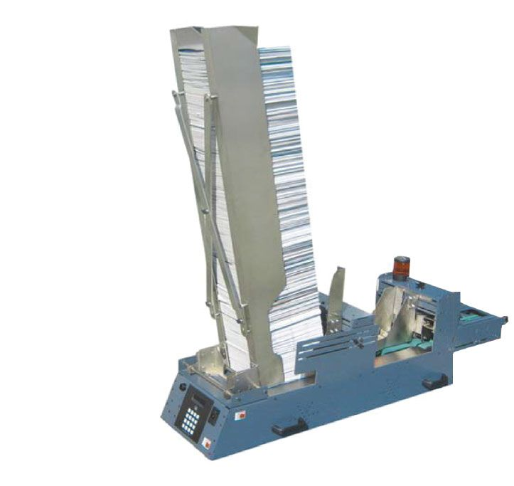 PSI Engineering LC InFeeder friction feeder for inserting high volumes of media inline into boxes or totes on a conveyor line